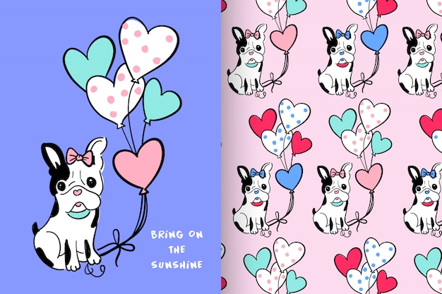 Cute dog with pattern vector set