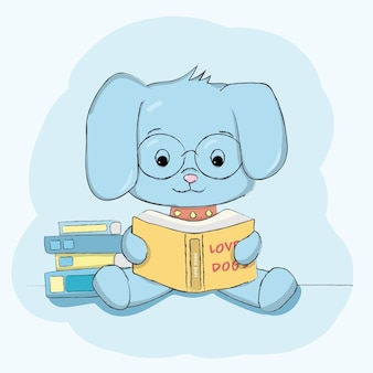 Cute dog with reading book hand drawn