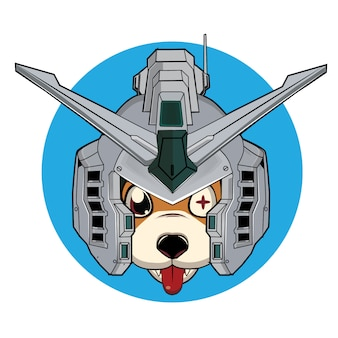 Cute dog with a robot helmet