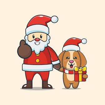 산타 클로스와 귀여운 강아지 귀여운 크리스마스 만화 일러스트 레이션