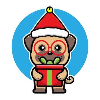 Cute dog with santa hat cartoon character christmas concept illustration