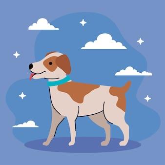 Милая собака с пятнами коричневого цвета иллюстрации