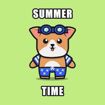 Cute dog with a summer theme   illustration animal summer concept