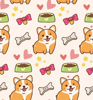 Cute dog with toys and food kawaii background