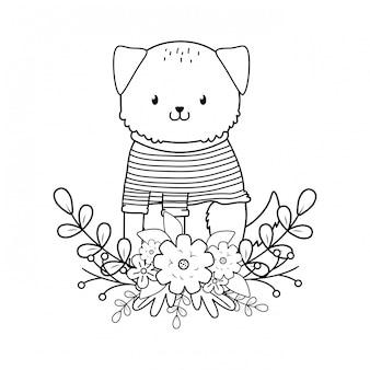 Cute dog woodland character