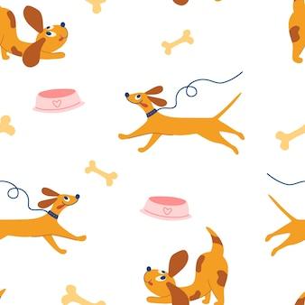 かわいいわんわんシームレスパターン。幸せな手はかわいい犬を描きます。面白い子犬、骨、ボウル。子供のパターン。かわいい動物の赤ちゃん。ファブリック、テキスタイル、アパレル、壁紙の漫画ベクトルイラスト。