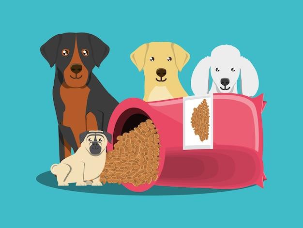 かわいい犬と青い背景の上の犬の食べ物のパケット