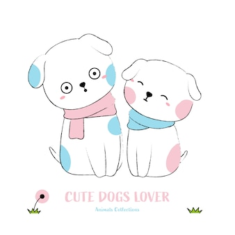 Cute dogs animal hand drawn style