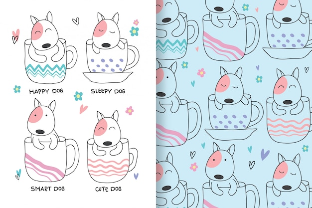 Cute dogs are hand drawn with pattern