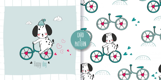 Cute dogs and bicycles  seamless pattern and illustration