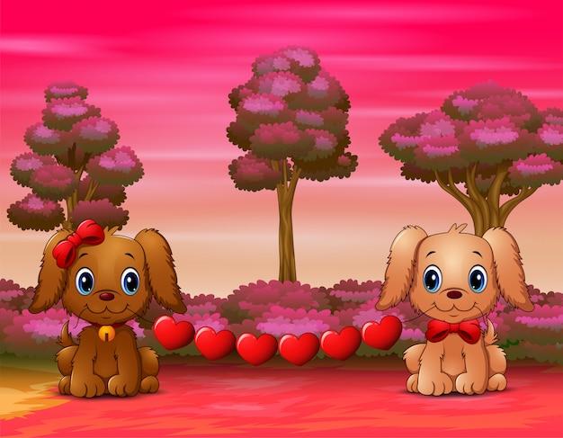 Милые собаки кусают сердце в лесу