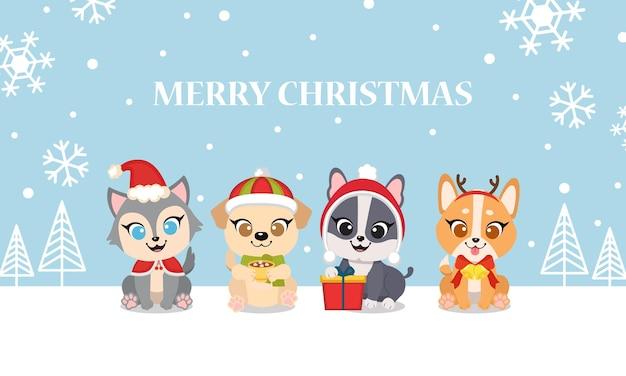 Симпатичные собаки празднуют рождество вместе поздравительной открытки