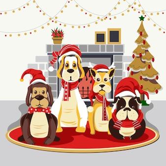 暖炉の背景と季節のかわいい犬のクリスマス