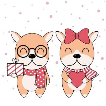 ギフトボックス付き冬のスカーフのかわいい犬