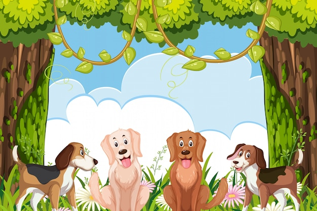 Cute dogs in jungle scene