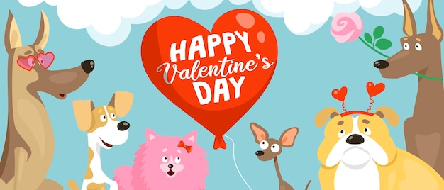 面白いバレンタインの衣装を着たさまざまな品種のかわいい犬