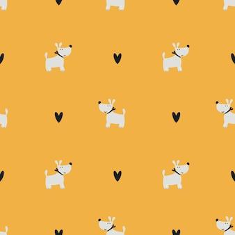 Шаблон милые собаки. милая пара любящих собак. современный бесшовный детский принт для печати на подгузниках, постельном белье, пижамах. фон для цифровой бумаги, скрапбукинга. векторные иллюстрации, каракули