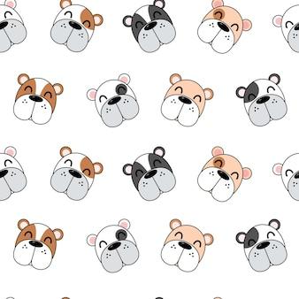 Симпатичные собаки шаблон, бесшовные обои разные собаки.