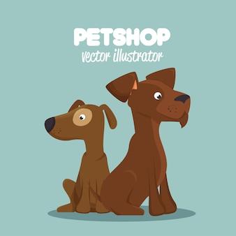 Милые собаки зоомагазин клиника ветеринарный дизайн