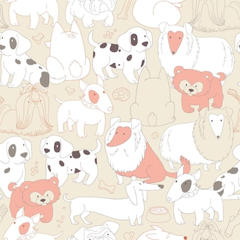 Cute dogs. pets. seamless pattern background in outline style.