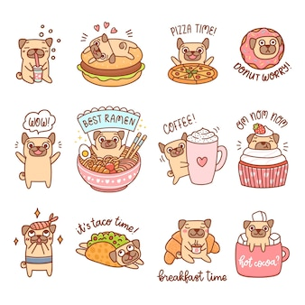 Cute dogs of pug breed with different food and drinks