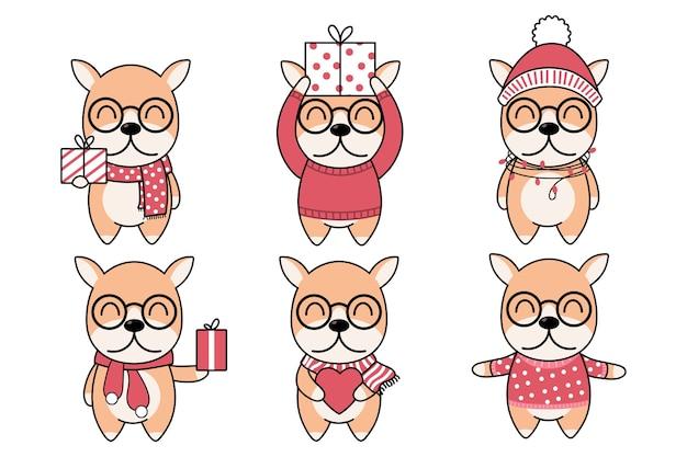 Симпатичные собачки в зимнем шарфе с подарочной коробкой, сердцем и розовым снегом. новый год, счастливого рождества, юбилей, день рождения и валентина концепции