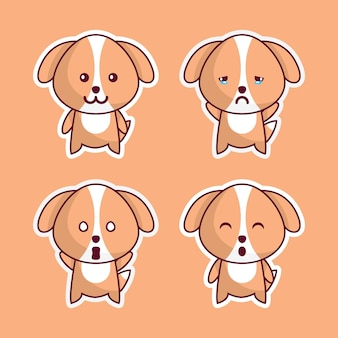 Cute dogs in various expressions