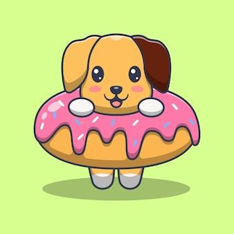 Cute dogs with dessert cartoon illustration