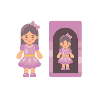 Cute doll in pink dress in a box flat icon. little girl flat illustration