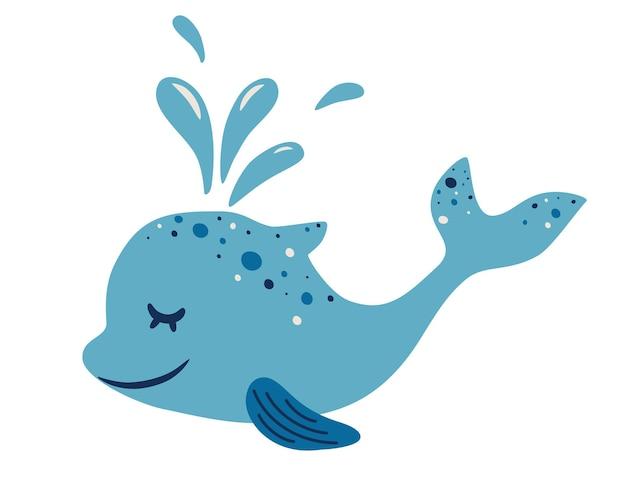 귀여운 돌고래. 분수가 있는 사랑스러운 푸른 돌고래. 귀여운 친절한 물고기의 측면 보기입니다. 유치한 캐릭터. 바다 동물 부동 수중. 컬러 플랫 만화 벡터 일러스트 레이 션
