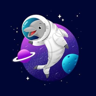 우주 배경에서 귀여운 돌고래 우주 비행사