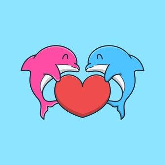 그들의 지느러미에 사랑을 들고 귀여운 돌고래 커플