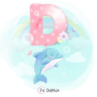Cute dolphin flying with alphabet-d balloon