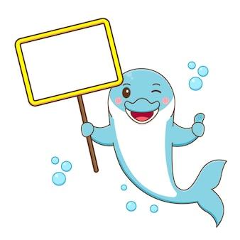 Милый дельфин держит пустую доску мультфильм