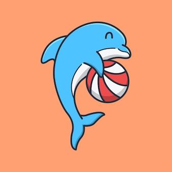 귀여운 돌고래가 공을 들고 놀고있다.