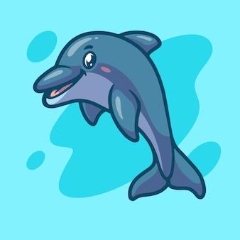 Симпатичный дизайн иллюстрации талисмана дельфина