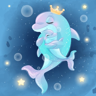 Cute dolphin mother and baby