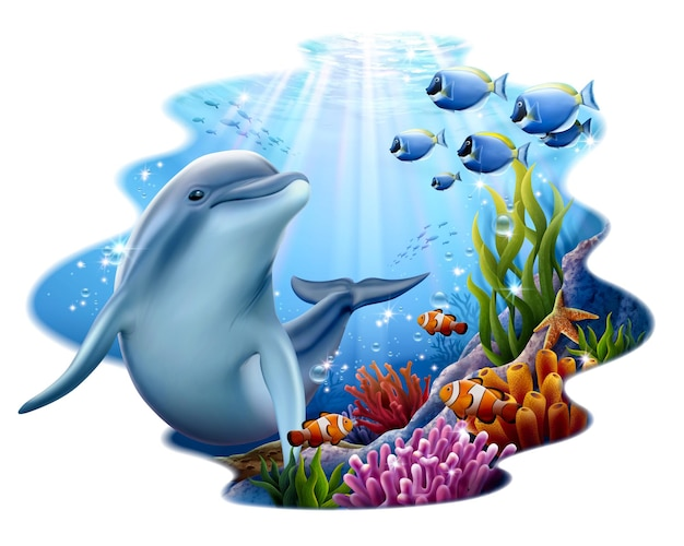 Cute dolphin playing at coral reef