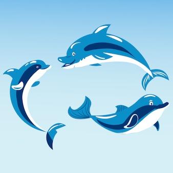 Cute dolphins aquatic marine nature ocean blue mammal sea water wildlife animal vector illustration