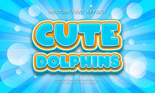 Симпатичные дельфины редактируемый текстовый эффект с синей цветовой темой