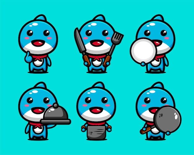 調理器具をセットにしたかわいいイルカの魚料理人のキャラクターデザイン