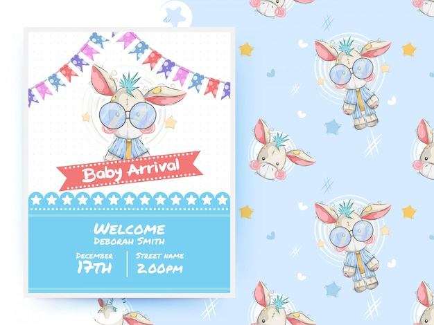 Cute donkey baby shower party card template and seamless pattern