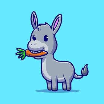 Simpatico asino che mangia il personaggio dei cartoni animati di carota. cibo per animali isolato.