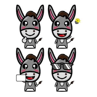 かわいいロバセットコレクションベクトルイラストロバマスコットキャラクターフラットスタイル漫画