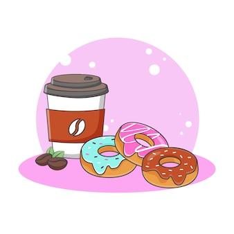 かわいいドーナツとコーヒーのアイコンイラスト。甘い食べ物やデザートアイコンのコンセプト。漫画のスタイル