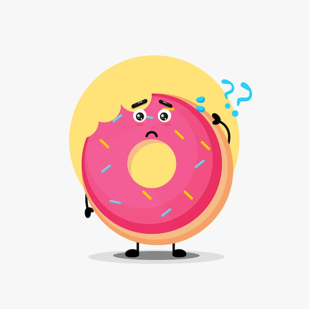 Cute donut character being confused Premium Vector