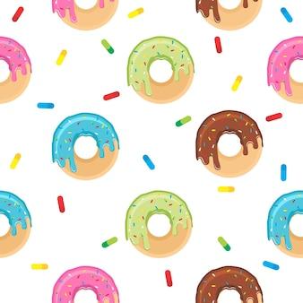 Симпатичный пончик плоский дизайн шаблон иллюстрации