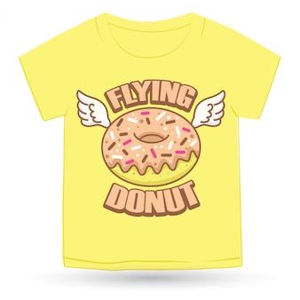 티셔츠에 대 한 귀여운 도넛 손으로 그린 로고 만화