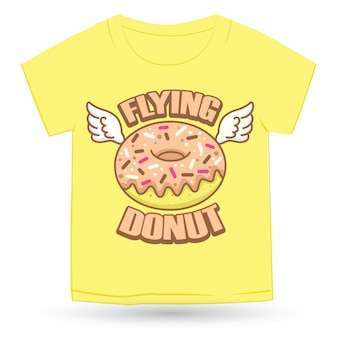 Cute donut hand drawn logo cartoon for t shirt