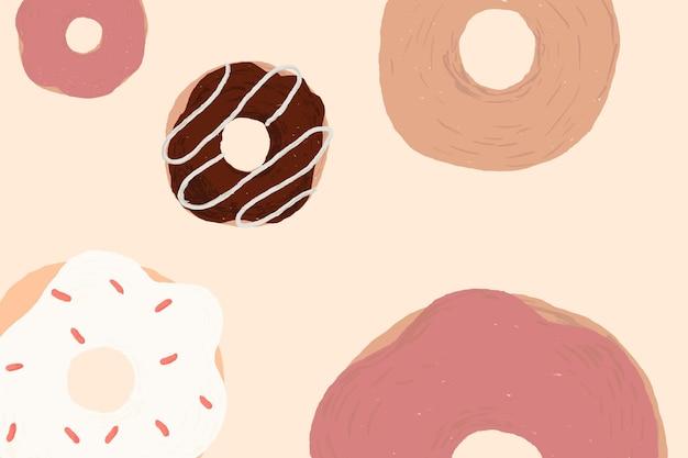 핑크 귀여운 손으로 그린 스타일에 귀여운 도넛 무늬 배경 벡터